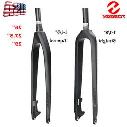 """1-1/8"""" MTB Bicycle Carbon Fiber Tapered/Straight Disc Rigid"""