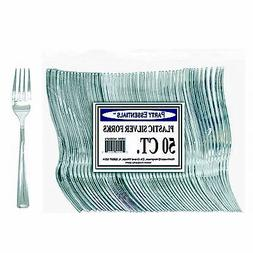 1 Party Essentials Plastic Forks-Silver 50 Ct.