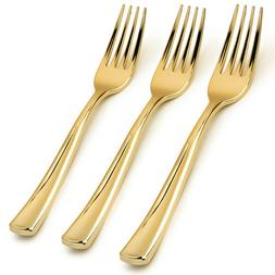 100 - Disposable Gold Forks Looks Like Gold Plastic Silverwa