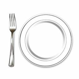 "100 Elegant Plastic Disposable Dining Sets: 7.5"" Small Pla"