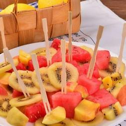 100 Pcs Disposable Bamboo Wooden Fruit Fork Dessert Forks Ta