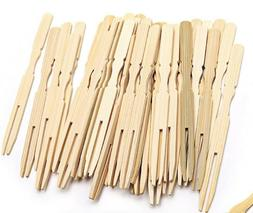 100 pcs Mini Bamboo Fruit Fork Food Appetizer Cocktail Pastr