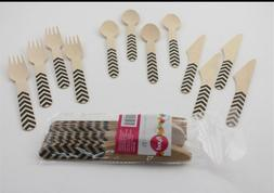 100% biodegradable Wooden Party Cutlery Black Wood Spoon For