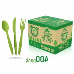 100% Compostable Forks, Spoons and Knives Cutlery Set- 400 L