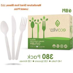 100% Compostable Forks Spoons and Knives - 380 Piece Eco Cut