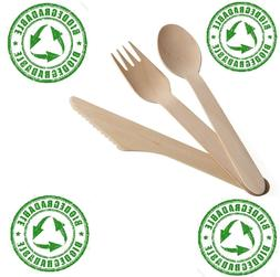 100 x Wooden Cutlery Sets  Knives Forks and Spoons - Eco-Fri