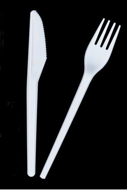 1000 X DISPOSABLE WHITE PLASTIC FORKS KNIVES HOME CUTLERY PA