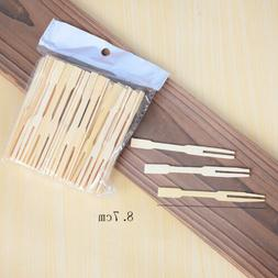 100Pcs Bamboo Forks Wooden For Appetizer Cocktail Fruit Past