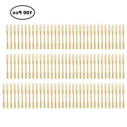 100pcs/Set Wooden Disposable Fork Compostable Forks Bamboo P