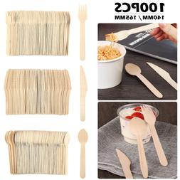 100PCS Wooden Disposable Cutlery Forks Knives Spoons Sporks