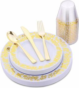 120 Pieces Elegant Gold Party Plates, Cups, Forks, Knives, a