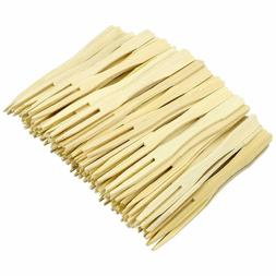 140 mm Disposable Wooden Brown Fruit Mini Forks Bamboo Party