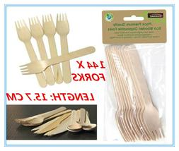 144 X ECO WOODEN CUTLERY BULK CATERING PACK FORK FORKS PARTY
