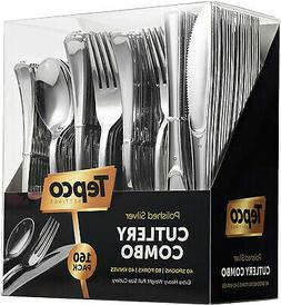 160pc Plastic Silverware Disposable Silver Flatware 80 Forks