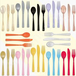 18pc Plastic Reusable Cutlery Set Spoons Knives Forks Party