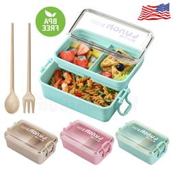 2 layers microwave lunch box portable bento