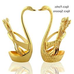 2 pcs stainless steel gold forks spoons