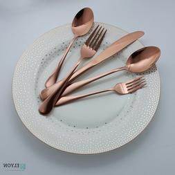 20-Piece Rose Gold Copper Flatware Set Reflective Stainless