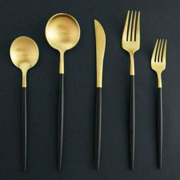 5pcs/set Gold and Black Matte Stainles Steel Silverware Flat