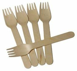200/100/50pcs New 16cm Wooden Forks - Disposable Wood Cutler
