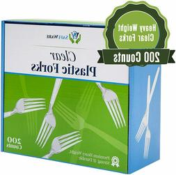 200 clear plastic forks heavy duty disposable