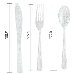 200 Pcs Plastic Disposable Silverware Include 100 Forks 50 K