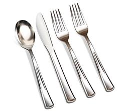 200 Silver Plastic Cutlery Premium Quality Fancy Disposable