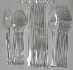 24 Plastic Spoons Forks Knives Clear Extra Heavy Duty Cutler
