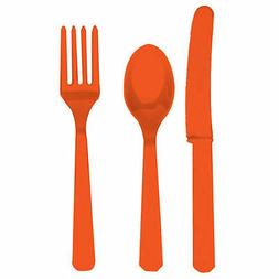 24 x Orange Plastic Cutlery Set Knives forks spoons Disposab