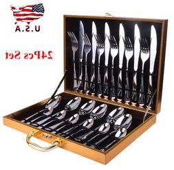 24Pcs Stainless Steel Silverware Set Tableware Cutlery Sets