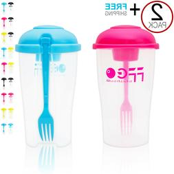2PACK! Leak-Proof Fresh Salad Shaker Lunch to Go Container S