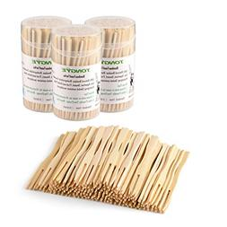 3 Packs of 110 Bamboo Forks 3.5 Inch Mini Food Picks Party B