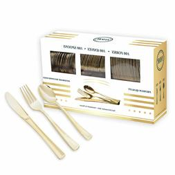 300 Gold Plastic Silverware- Disposable Cutlery Serving Set-