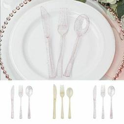 300 pcs Glittered Forks Spoons and Knives Set Disposable Tab