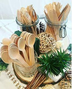 300 Pcs Wooden Cutlery Set Eco Disposable Wooden Utensils Fo