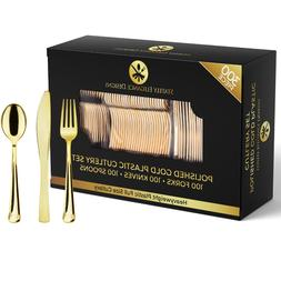 300 Piece Gold Plastic Silverware Set - 100 Forks, 100 Knive