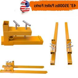 3500lbs Clamp on Pallet Forks Loader Bucket Tractor Parts He