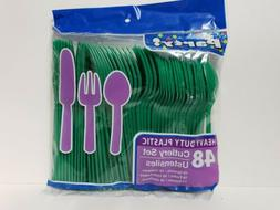 48 Piece Green Plastic Cutlery Utensils Set Forks Spoons and