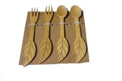 4pcs Bamboo Kids Forks, Non Toxic & Safe Toddler Spoons & Fo