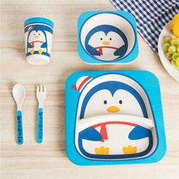 5Pcs Baby Kids Animal Dinner Plate Bowl Cup Spoon Fork Bambo