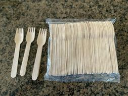 """6 1/2"""" Disposable Wooden Forks - Heavy  Weight - 100ct"""