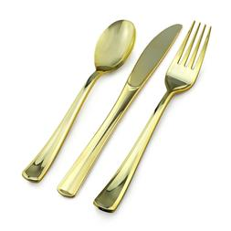 800 Piece Gold Plastic Silverware Set - 400 Forks, 200 Knive
