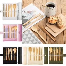 6pc Reusable Bamboo Cutlery Set & Travel Pouch, Eco-Friendly