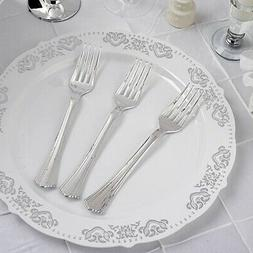 """7.25"""" SILVER PLASTIC FORKS Party Wedding Catering Dinner Dis"""