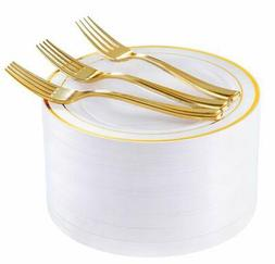 """72 Pieces Gold Dessert Plates 7.5"""" with 72 Pieces Gold Plast"""