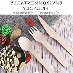 99 Pieces Wooden Cutlery Set 33 Forks 33 Spoons 33 Knives Bi