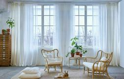 """IKEA LILL Curtains Sheer Net White 2 Panels 110x98"""" Canopy R"""