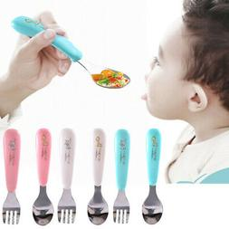 Baby Kids Safety Utensils Spoon and Fork Stainless Steel Fee