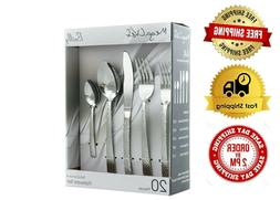 MegaChef Baily 20 Piece Flatware Silverware, Stainless Steel