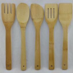 BAMBOO COOKING UTENSILS SET OF 5 WOODEN TURNER SPATULA SPOON